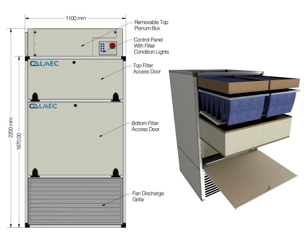 Calmec RC-9 Unit Dimensions Light Grey and Hood Extract Unit Half Section view Light Grey